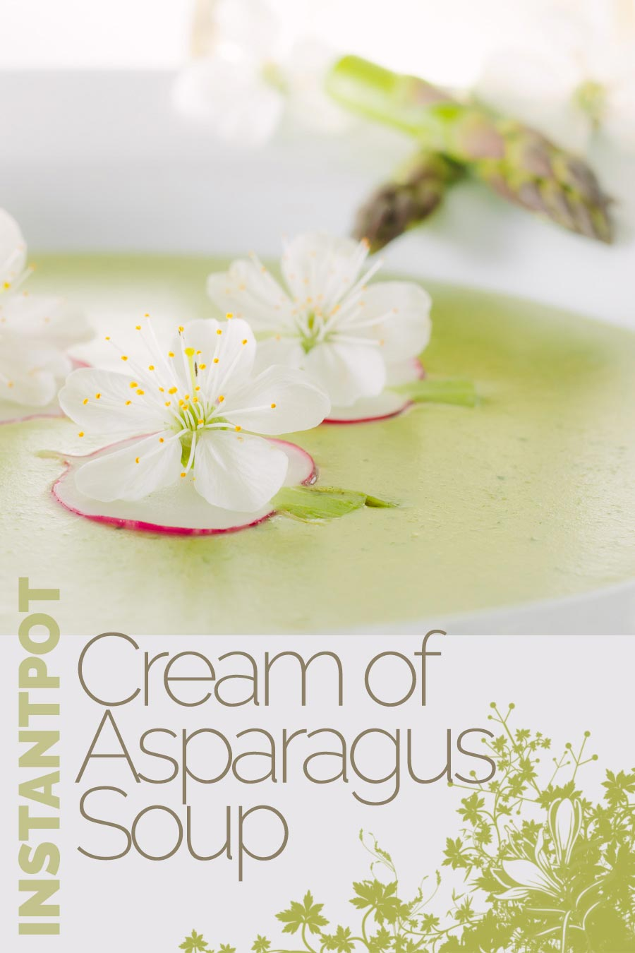 Asparagus Soup may seem a little indulgent but this cream of asparagus soup is a beautifully spring like dish with a surprising and tasty garnish. #soup #asparagus #springrecipe #asparagussoup #edibleflowers #recipeideas #recipeoftheday #recipes