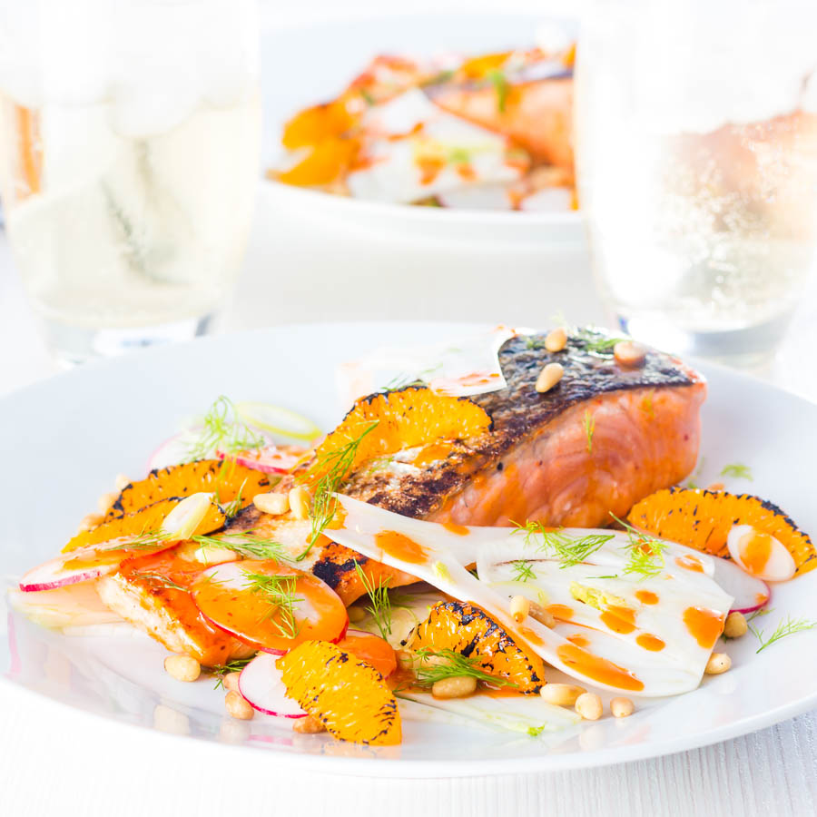 My Orange and Harissa Salmon with Fennel recipe just screams summer at me, beautiful clean fresh flavours a little heat and sun sun sun!