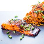 Pan fried Teriyaki Salmon is one of the most delightful and simple dishes you could ever cook, the wonderful sauce is the perfect match for the rich fish.