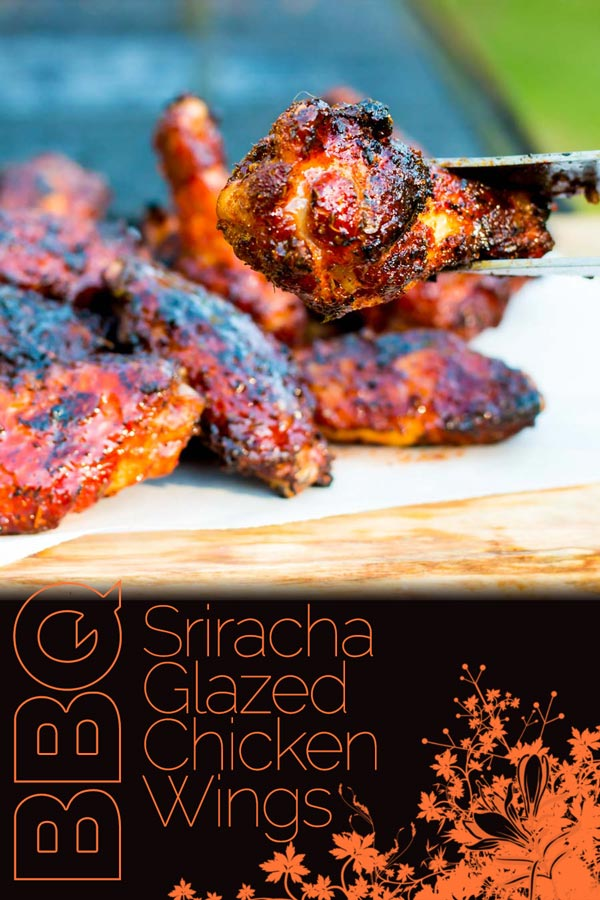 These Sriracha Glazed Grilled Chicken Wings are marinaded in a dry rub before being grilled on the BBQ in a sticky spicy sweet sauce to send them over the edge. #grilling #grilledfood #grilledwings #BBQParty #BBQ #chicken #recipe #recipeideas #recipeoftheday