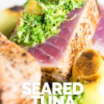 This vibrant and zingy lemon caper sauce is the perfect accompaniment to this quickly seared tuna steak deliberately cooked very rare and just warmed in the centre! #tuna #datenightfood