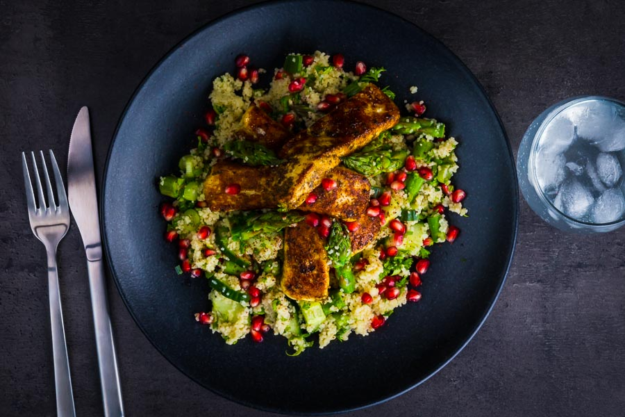 This Zaatar Halloumi Cheese With Cous Cous combines zaatar marinated and sautéd halloumi cheese with a fresh spring like couscous salad!