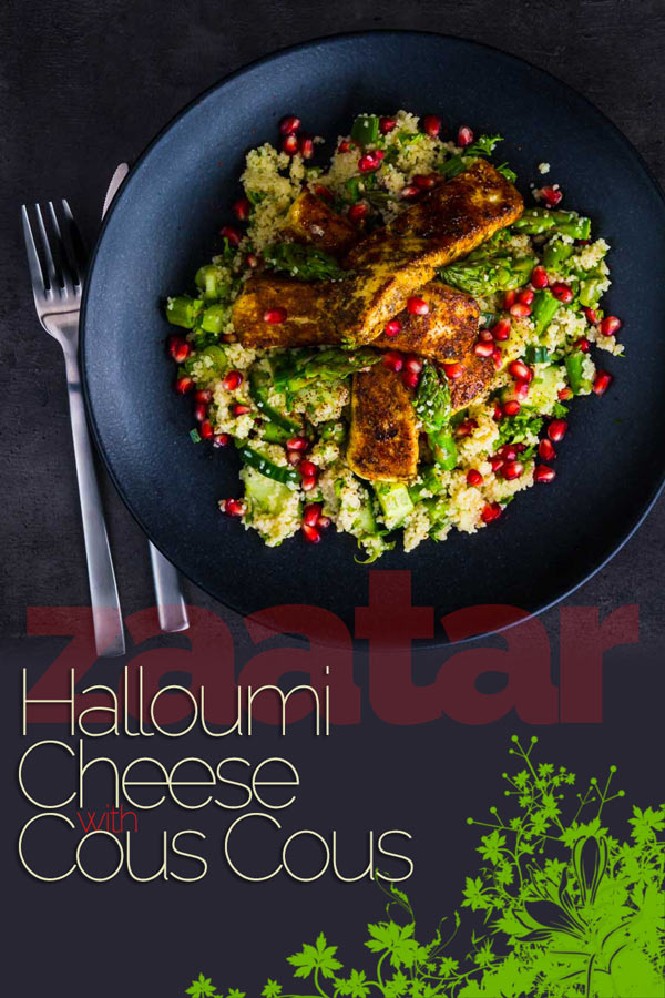 This Zaatar Halloumi Cheese With Cous Cous combines zaatar marinated and sautéd halloumi cheese with a fresh spring like couscous salad! #halloumicheese #cheese #zaatar #vegetarian #dinnerfortwo #recipeideas #recipeoftheday #recipes