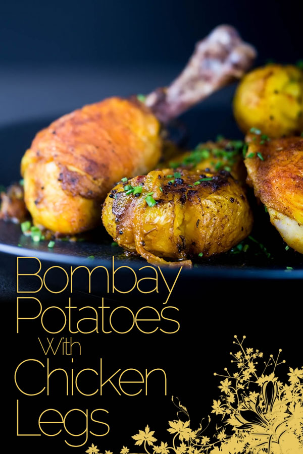 Bombay potatoes or Bombay Aloo are the perfect side dish to these simply roasted spiced chicken legs. Spiced with Indian flavours in a dish that is not a Curry! #indianfood #indianrecipes #potatorecipes #chickendinner #recipeoftheday #recipeideas #recipes