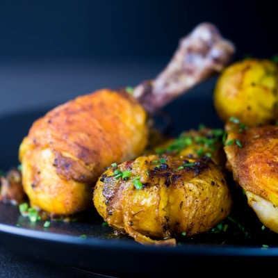 Bombay potatoes or Bombay Aloo are the perfect side dish to these simply roasted spiced chicken legs. Spiced with Indian flavours in a dish that is not a Curry!