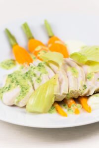 A poached chicken breast is a light way of creating a fab light summer meal, this comes with a kohlrabi puree, carrots, fennel and a mustard sauce.