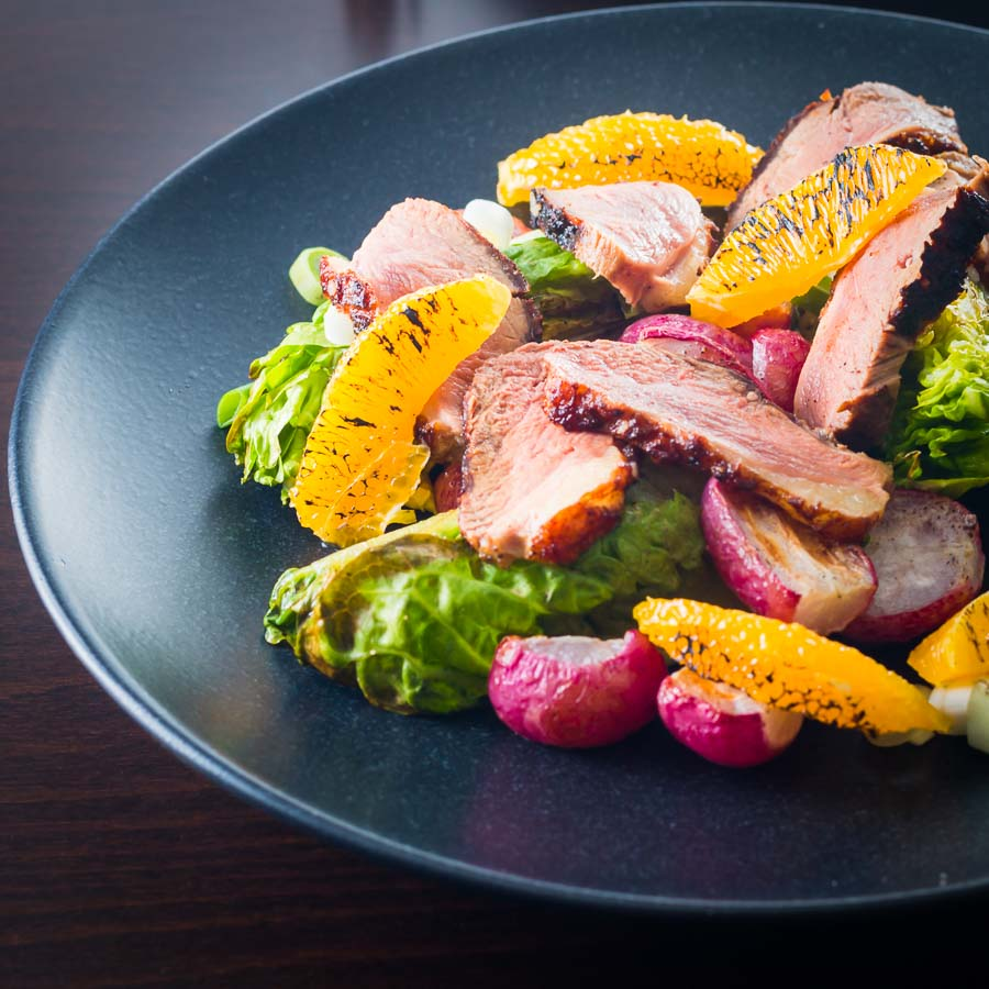 If you have not roasted radishes you definitely should start and they are perfect in this refreshing warm duck salad with orange.