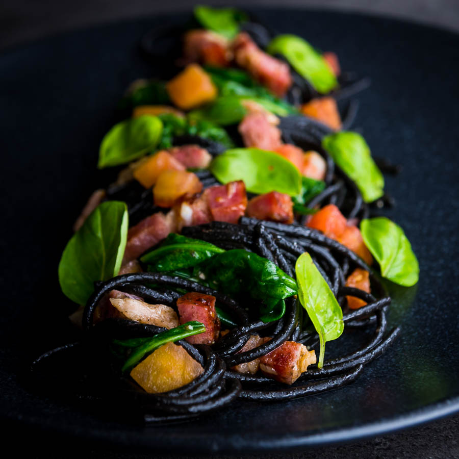 Squid ink pasta is a great way of adding extra drama and flavour into simple pasta dishes, this great recipe comes together in around 20 minutes and is always a winner.