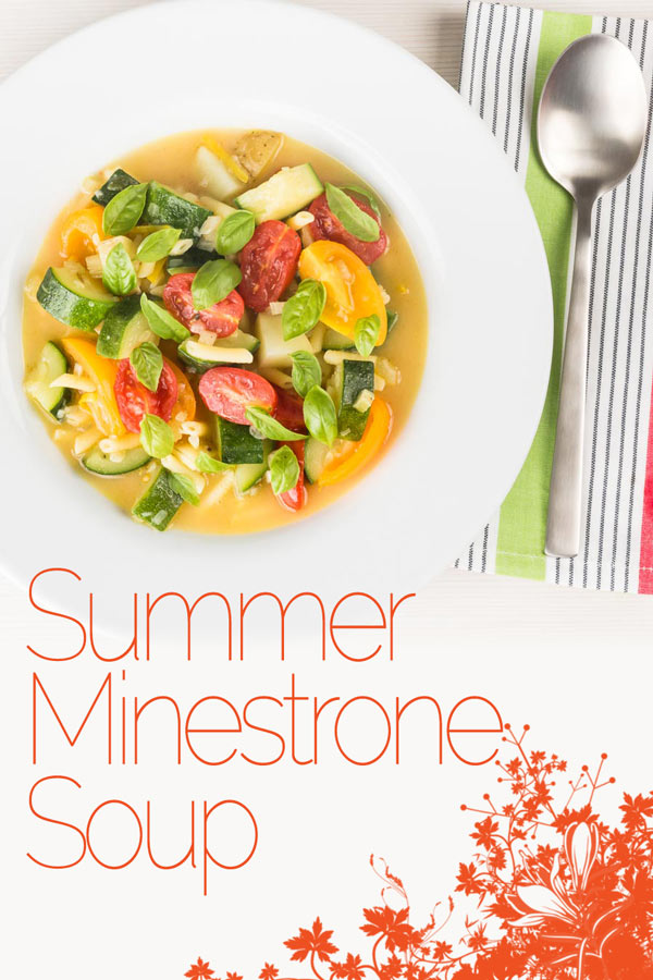 Soup is not just for winter this summer minestrone soup is a simple celebration of fresh and bright summer produce and is a great summer meal! #soup #vegetarian #vegetarianrecipes #tomato #zuccini #courgette #summerfood #recipe #recipeoftheday #recipeideas