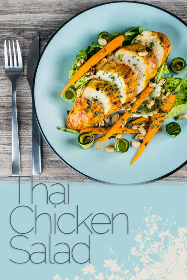 A simply roasted chicken breast in a Thai red curry paste and coconut milk coating form the centerpiece of this insanely tasty Thai Chicken Salad! #chickendinner #chickensalad #maincoursesalad #saladrecipes #easysaladrecipes #recipes #recipeideas #recipeoftheday