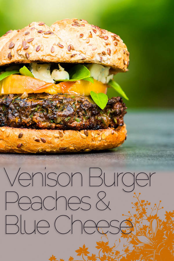 You can't beat a good grilled burger, but there is life beyond beef. This venison burger is topped with gin cooked peaches and blue cheese! #burger #burgerrecipes #bbqrecipes #grillingrecipes #venisonrecipes #recipeoftheday #recipeideas