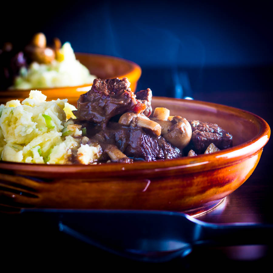 Wild meat is a real treat and this warming venison stew with mushrooms matched with an Irish champ is an Autumnal treat to keep you warm.