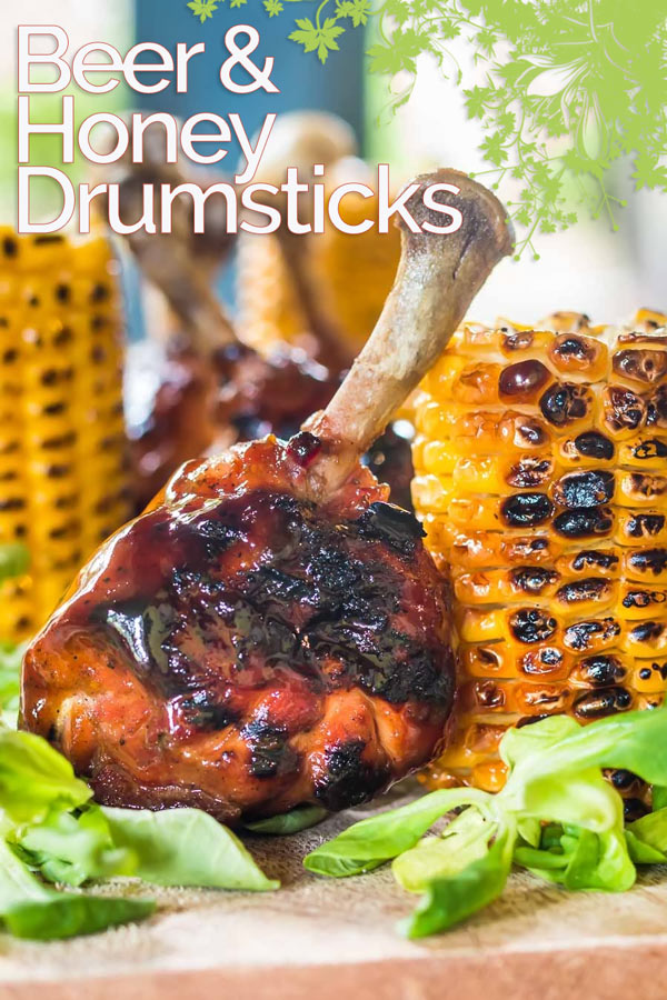 Dark Beer (a porter) and Honey form the base of the glaze on these BBQ chicken drumsticks which are served with simply grilled buttered sweetcorn. #grilledchicken #bbqchicken #grillingrcipes #bbqrecipes #recipeideas #recipeoftheday #recipes