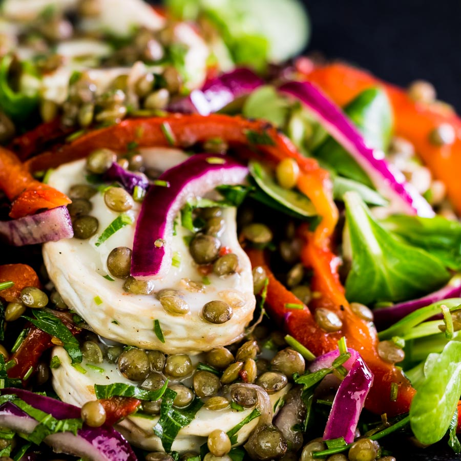 This delicious puy lentil salad is loaded with gloriously salty, fresh, soft goats cheese and wonderfully sweet roasted red pepper!