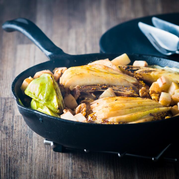 Skillet Pork Chops with Cabbage, Pear and Walnuts is a simple one pot wonder packed full of Autumnal flavours and textures.