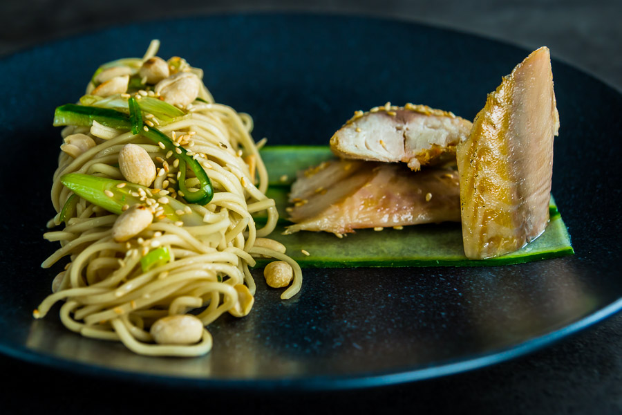 Smoked mackerel is one of my favourite ingredients and here it is joined by a glorious asian noodle salad with 'pickled' cucumbers, crunchy nuts and sesasme