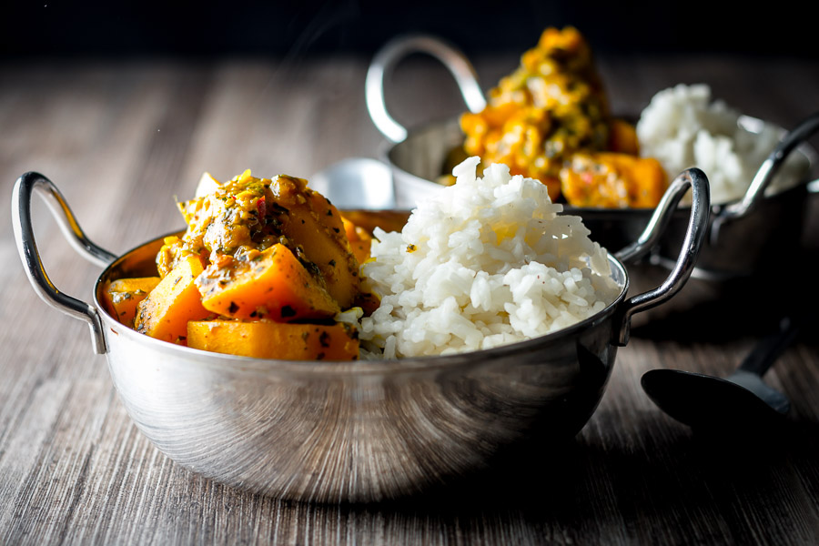 Pumpkin is the most wonderfully versatile ingredient and this pumpkin curry of Burmese influence is softened with Tamarind with a beautiful mint back note.