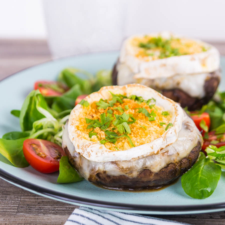 These stuffed portobello mushrooms evoke the flavours of a classic goats cheese and onion tart stuffed inside wonderfully baked mushrooms.