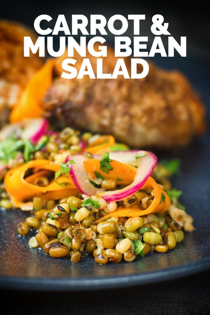 This carrot and mung bean salad is bright and vibrant with the Indian Influenced pickled carrots and served with some simply roasted garam masala chicken thighs #salad #chickensalad #indiansalad #recipe #recipeideas #recipeoftheday #chickenthighrecipes #chickenthighs
