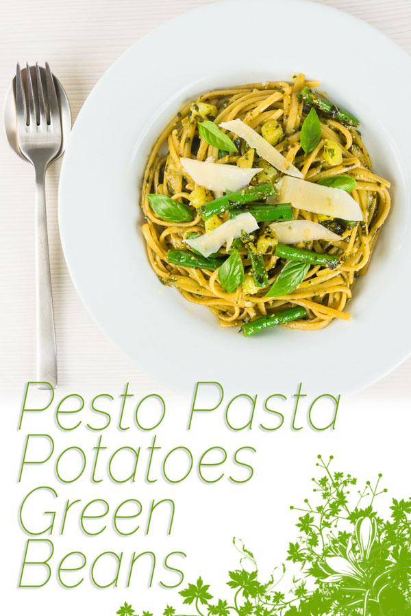Pesto Pasta with potatoes may sound odd but it is a really popular dish in the Ligurian region of Italy, a place where pesto is very much king! #pasta #pastarecipies #vegetarianrecipes #pesto #traditionalpastarecipes #recipeideas #recipeoftheday #recipes