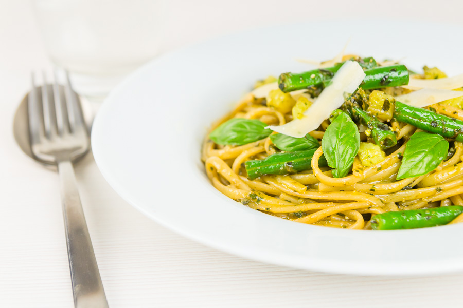 Pesto Pasta with potatoes may sound odd but it is a really popular dish in the Ligurian region of Italy, a place where pesto is very much king!