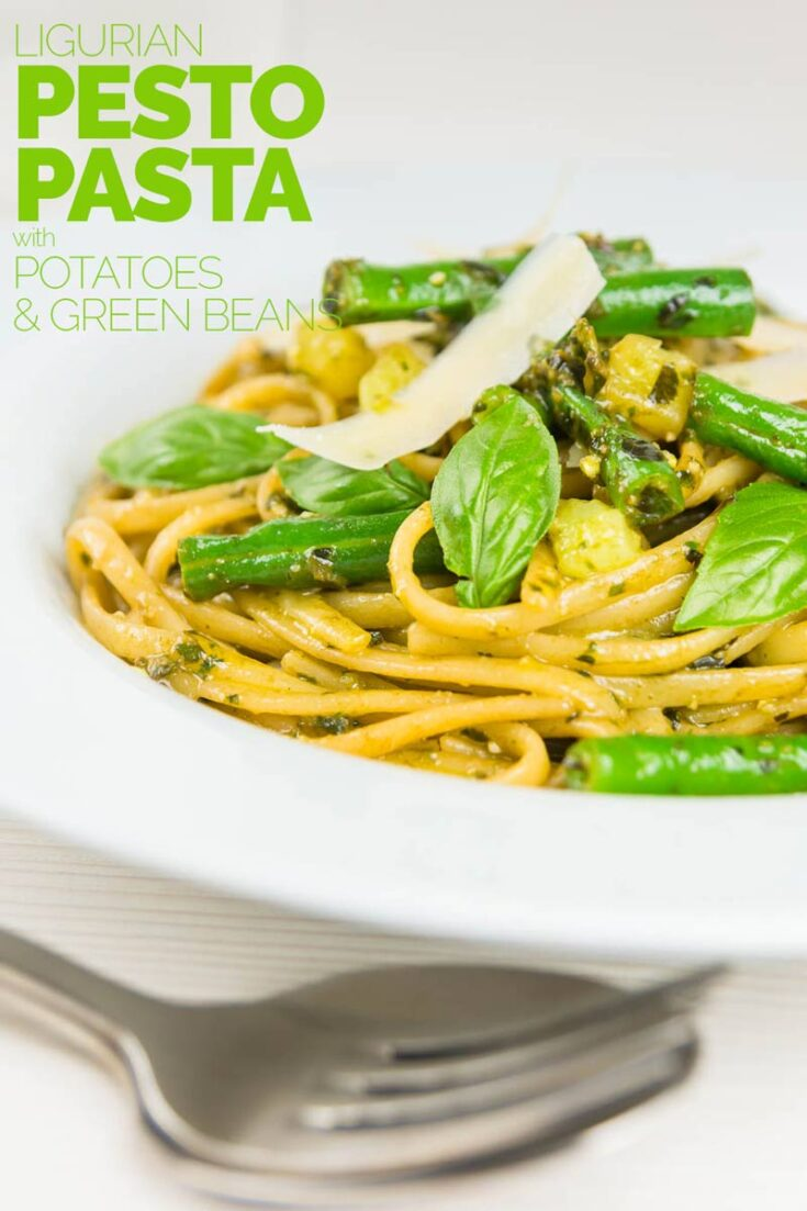 Pesto Pasta with potatoes may sound odd but it is a really popular dish in the Ligurian region of Italy, a place where pesto is very much king!  #30minuntemeals #easypastarecipes
