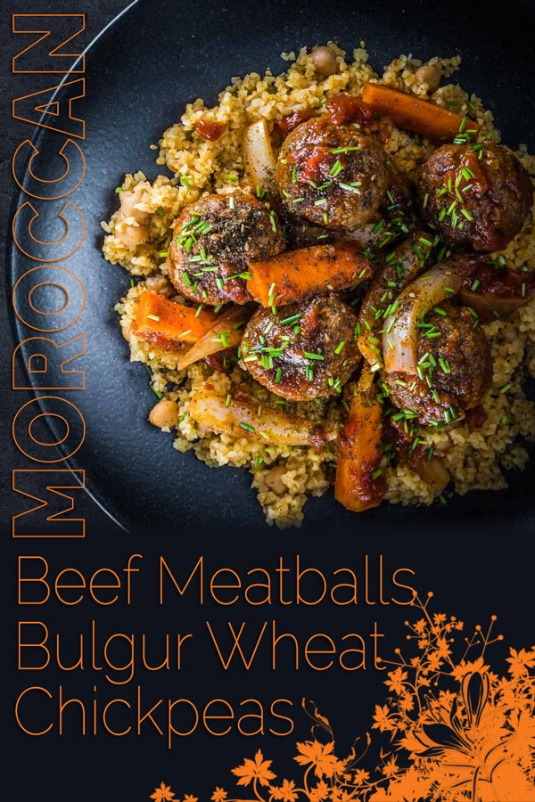 The bed of Harissa spiked bulgur wheat and chickpeas is the perfect bed for these Moroccan inspired beef meatballs, a wonderful winter warmer! #comfortfood #meatballrecipes #meatballs #beefrecipes #recipeideas #recipeoftheday #recipes