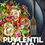 Overhead image of a puy lentil salad with soft goats cheese, red onion and roasted red peppers on a black plate with a vintage fork with text