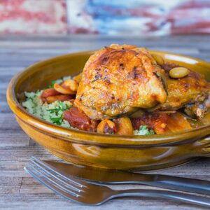 This simple Chicken Tagine recipe makes the most of the great flavour of chicken thighs and features dried apricots and almonds!