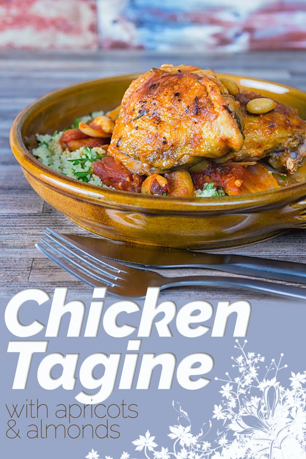 This simple Chicken Tagine recipe makes the most of the great flavour of chicken thighs and features dried apricots, almonds and a host of North African flavours. It is a delicious alternative to a chicken stew! #tagine #stew #chickenstew #chickentagine #northafricanfood #recipes #recipeideas #recipeoftheday