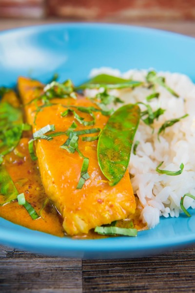 At 20 minutes from start to finish this easy Thai salmon curry is a fantastic midweek dinner that even the most rushed of families can manage!