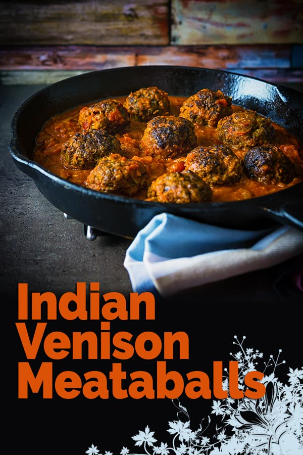These glorious Indian inspired venison meatballs are served with a masala style sauce and all cooked up in a single skillet. Get your naan breads ready! #meatballs #meatballmonday #venison #venisonrecipes #recipe #recipeiceas #recipeoftheday