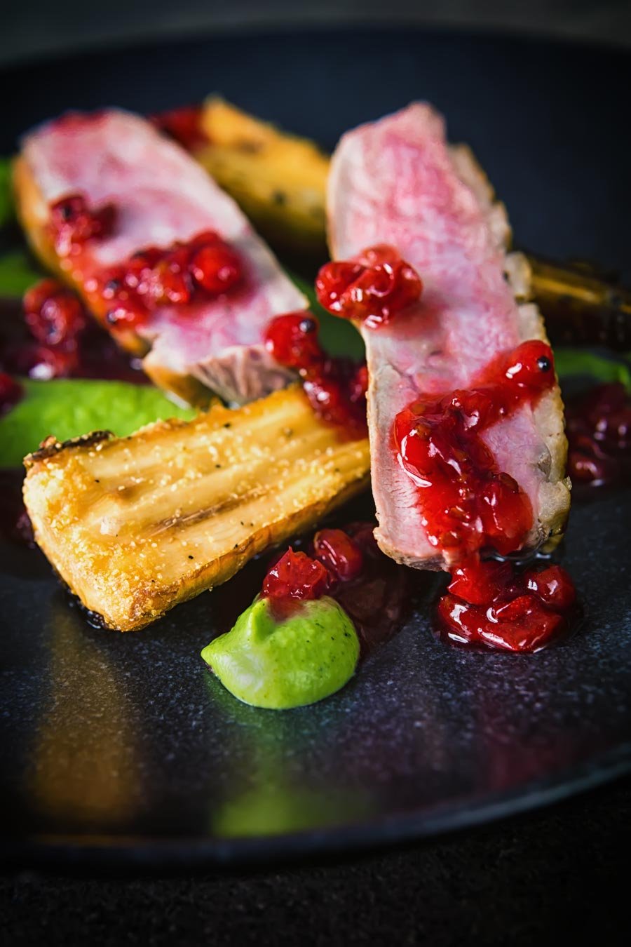 This pan fried duck breast is cooked using the cold pan method and is joined by honey roast parsnip, broccoli puree and a red currant sauce to form the perfect date night dinner!