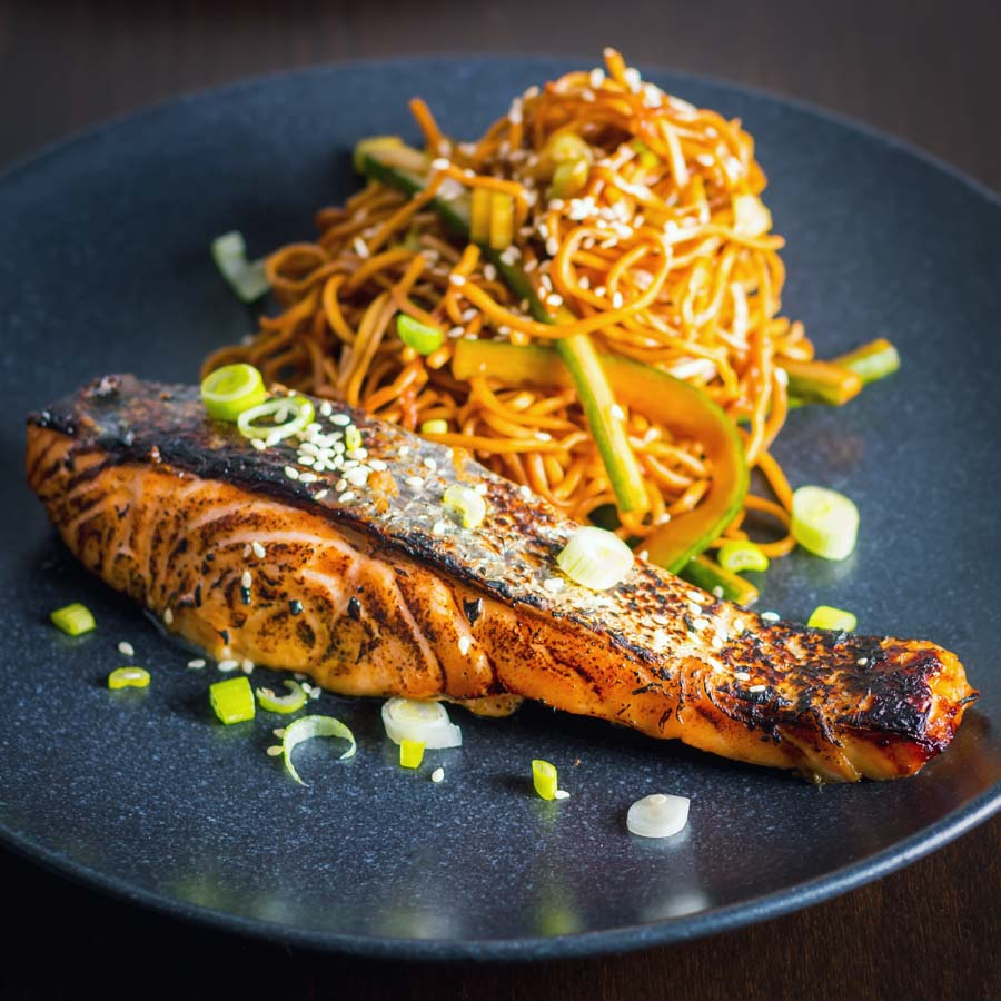 This Korean Salmon dish is so quick and simple it hurts, simply flashed under the broiler after sitting in a really tasty marinade for an hour or so.