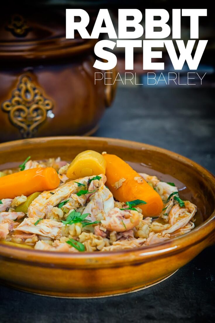 A good easy rabbit stew recipe is as old school as it gets this one is delightfully frugal, packed with flavour and features the much-underused pearl barley. #stew #stewrecipes #rabiit #rabbitrecipes #rabbitstew #tradtrionafood #recipe #recipeideas #recipeoftheday