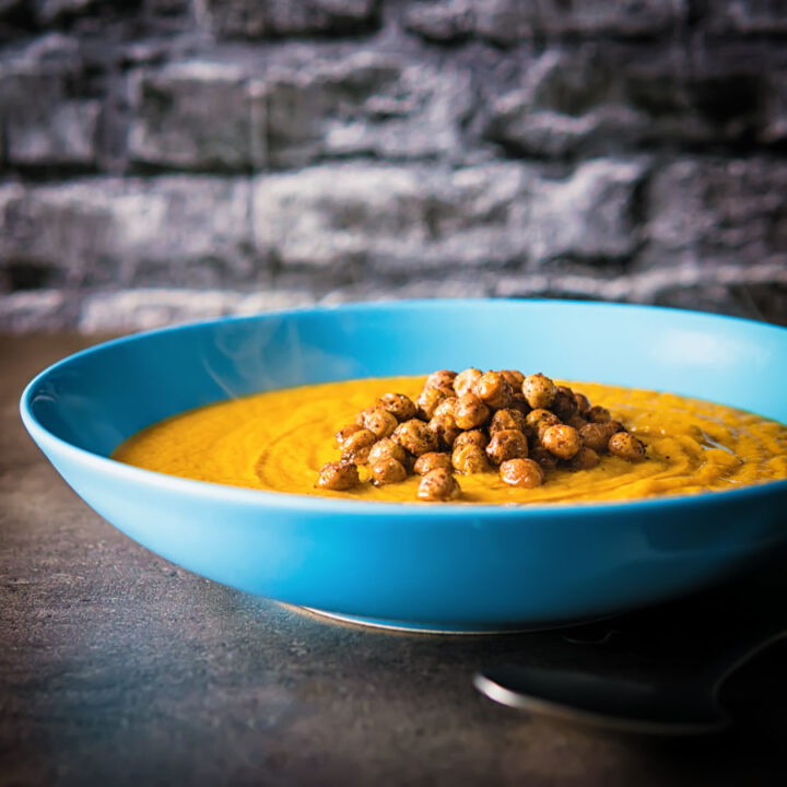 This roasted carrot soup is loaded with wonderfully spicy North African flavours and is topped with crispy sumac coated chickpeas!