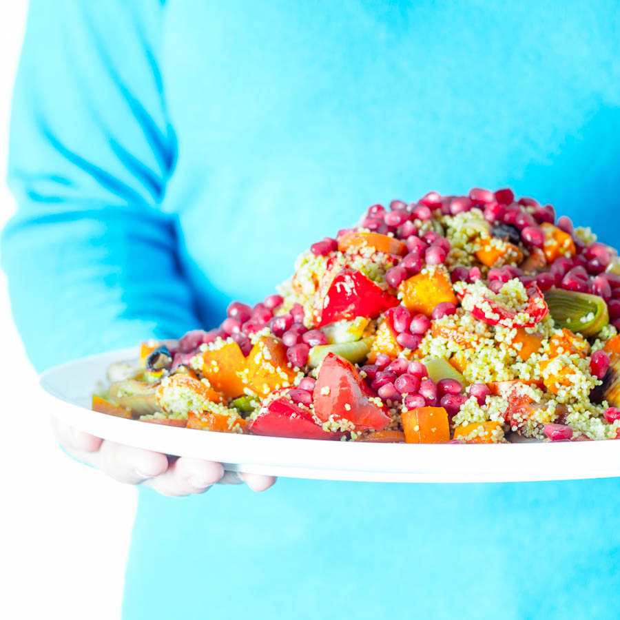 A Roasted Vegetable Couscous is my idea of a great way to add a splash of colour and interest to root vegetables throughout winter and early spring!