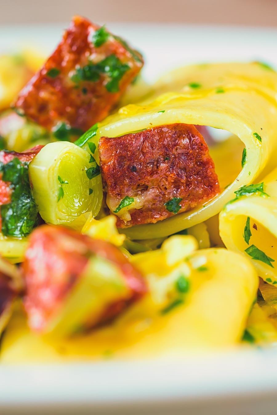 Close up of a salami and leek pasta recipe