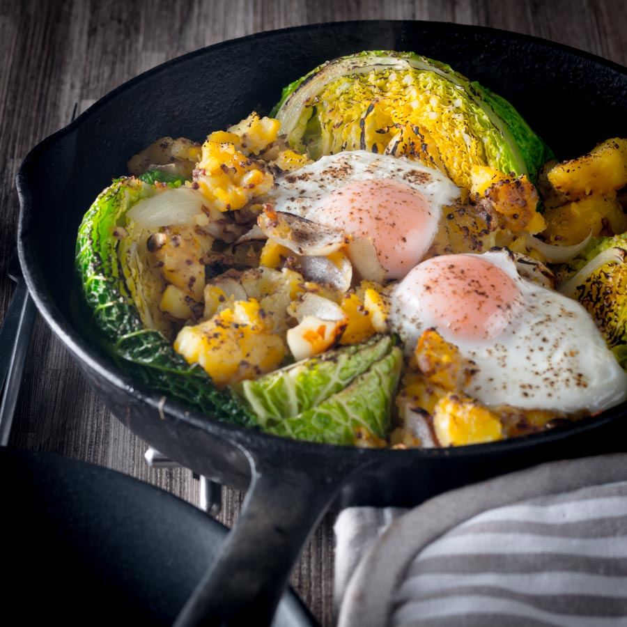 Bubble and Squeak is traditionally a left over dish, I like to do mine a little differently and blast it all in a cast iron skillet and rock it with an egg or two.