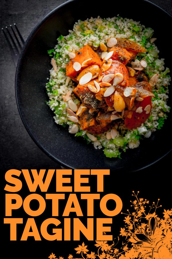 Vegetarian recipes can be really exciting and this Sweet Potato Tagine with Carrots and dates is great at breaking down carnivore barriers! #sweetpotatorecipes #vegetarianrecipes #northafricanrecipes #taginerecipes #recipe #recipeideas #recipeoftheday