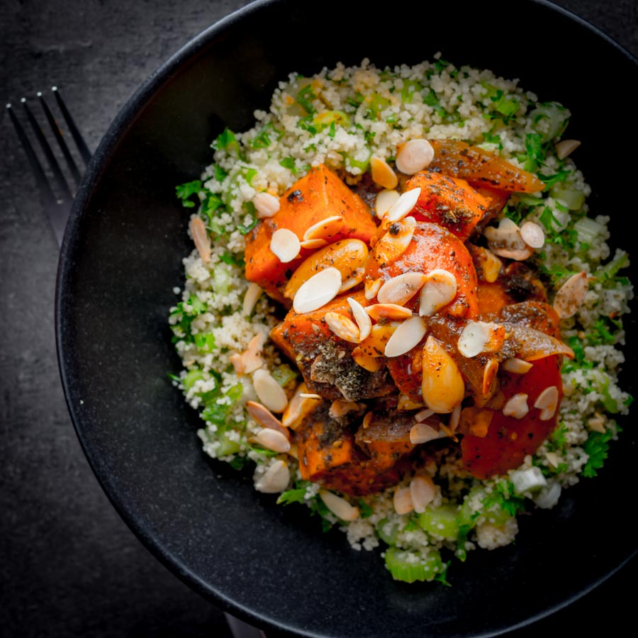 Vegetarian recipes can be really exciting and this Sweet Potato Tagine with Carrots and dates is great at breaking down carnivore barriers!