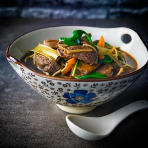 Simple ingredients get an Asian twist in this Chinese and Taiwanese influenced beef noodle soup, super quick to make and full of big flavour!
