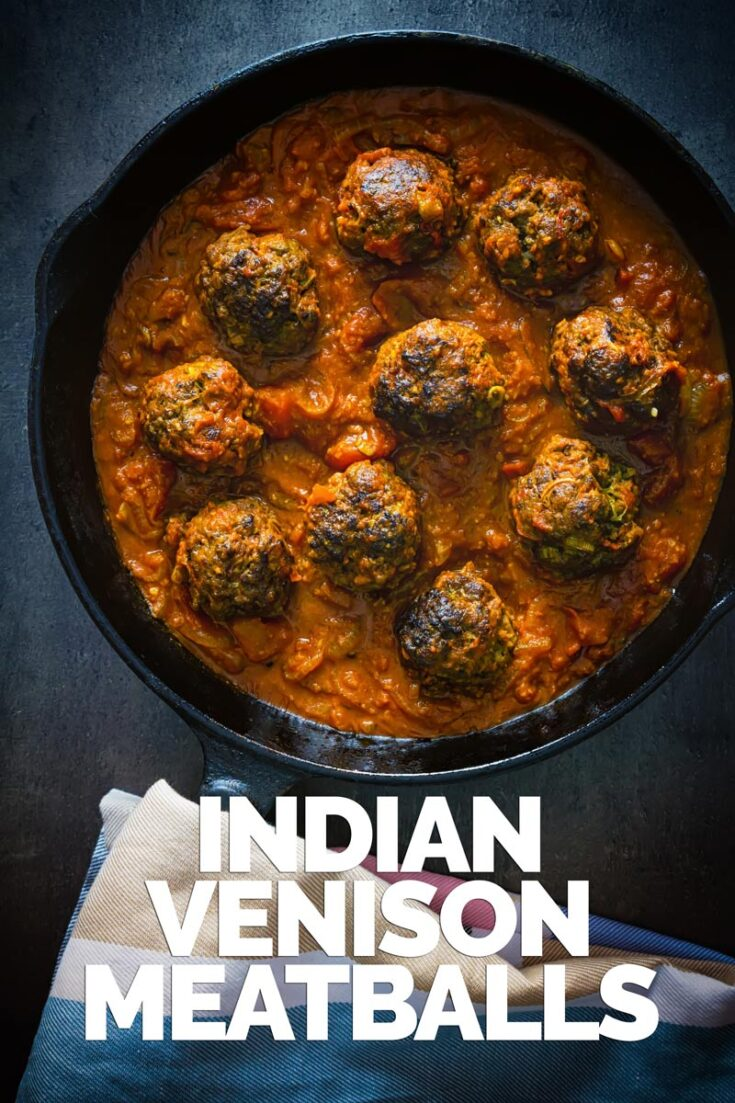 These glorious Indian inspired venison meatballs are served with a masala style sauce and all cooked up in a single skillet. Get your naan breads ready!  #meatballrecipes #onepotdish