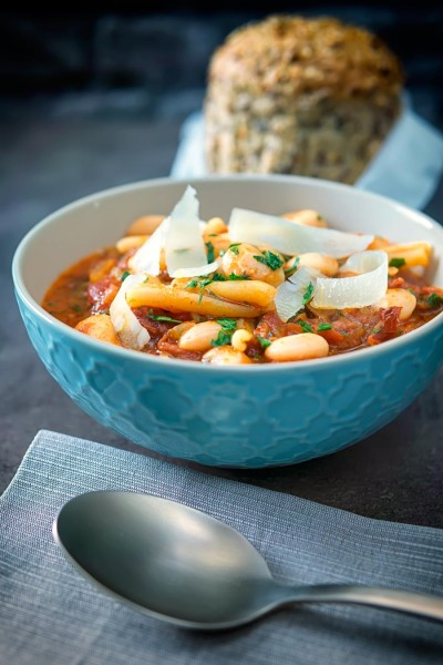 Pasta e Fagioli is an Italian pasta and bean soup or stew. It is wonderfully frugal, hearty and full of great simple flavours.
