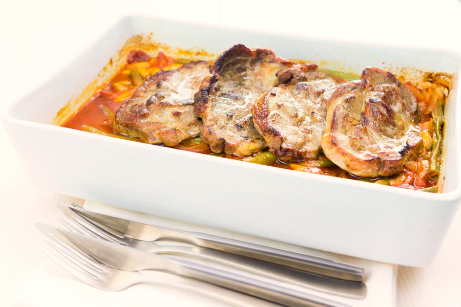 Roast Pork Chops With Beans