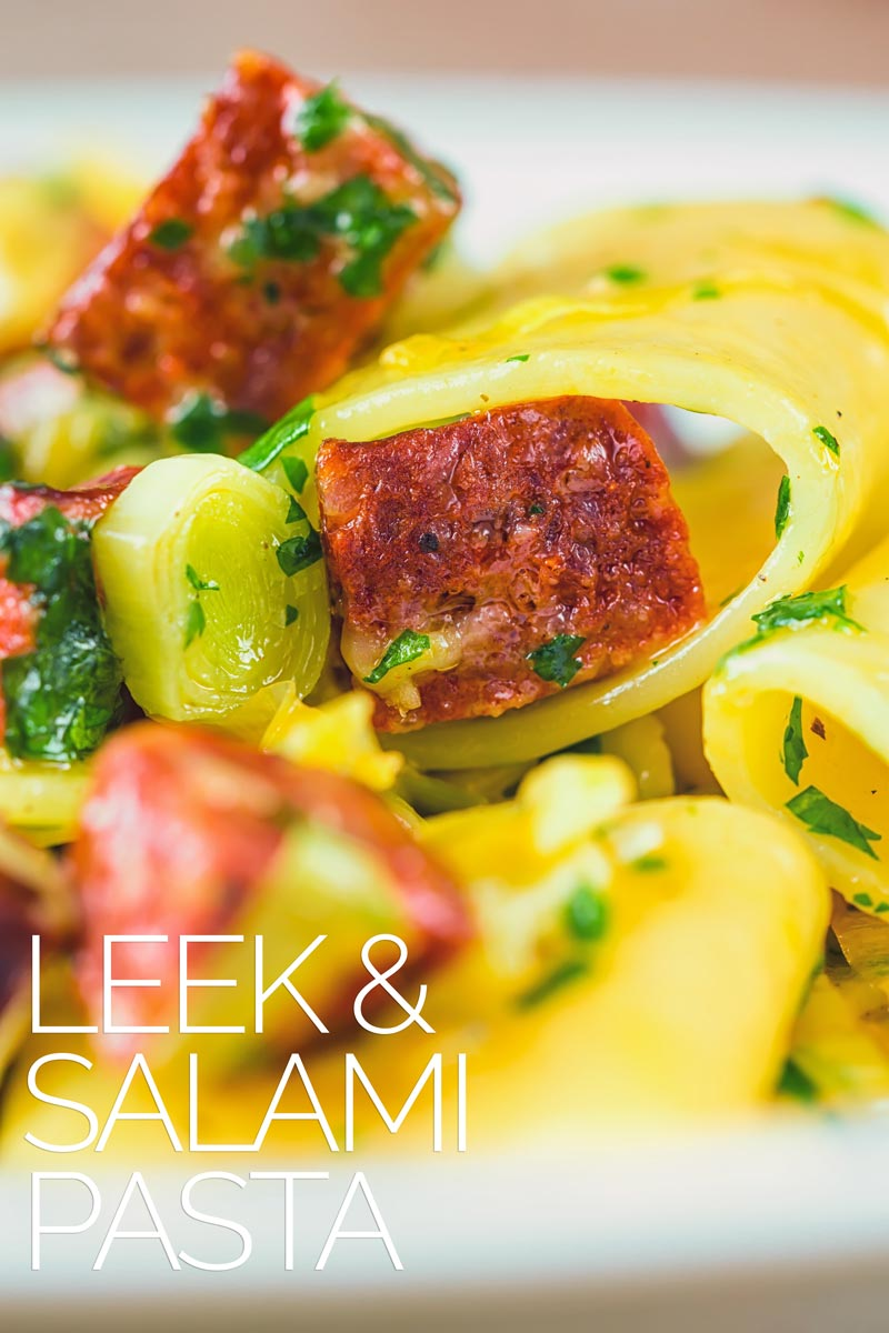 A simple pasta recipe is a great midweek dinner and this salami and leek pasta ticks all of the boxes as well as being utterly delicious! Ready in 20 minutes you cannot beat this easy weeknight meal! #pastadinner #quickpastarecipes #easypastarecipe #dinnersfortwo #30minutemeals #salamirecipes