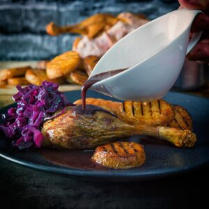 A whole roast duck always feels special and this recipe comes bundled with red cabbage and the very best potato recipe that I know!