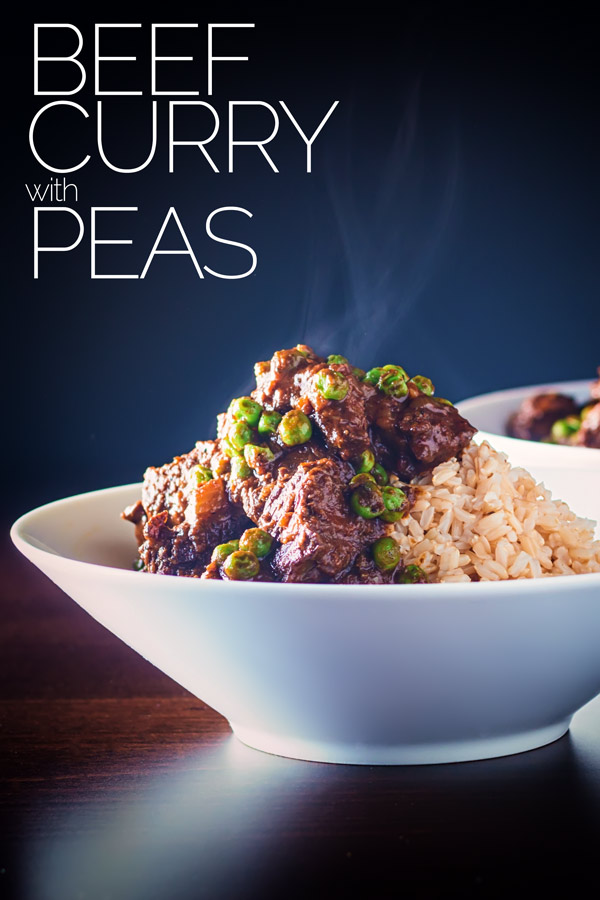 This beef curry with sweet garden peas borrows some flavours from a keema but is a big hearty, simple introduction to Indian flavours. This curry is fragrant and fills the home with amazing smells while cooking #beefcurryrecipe #simplebeefcurry