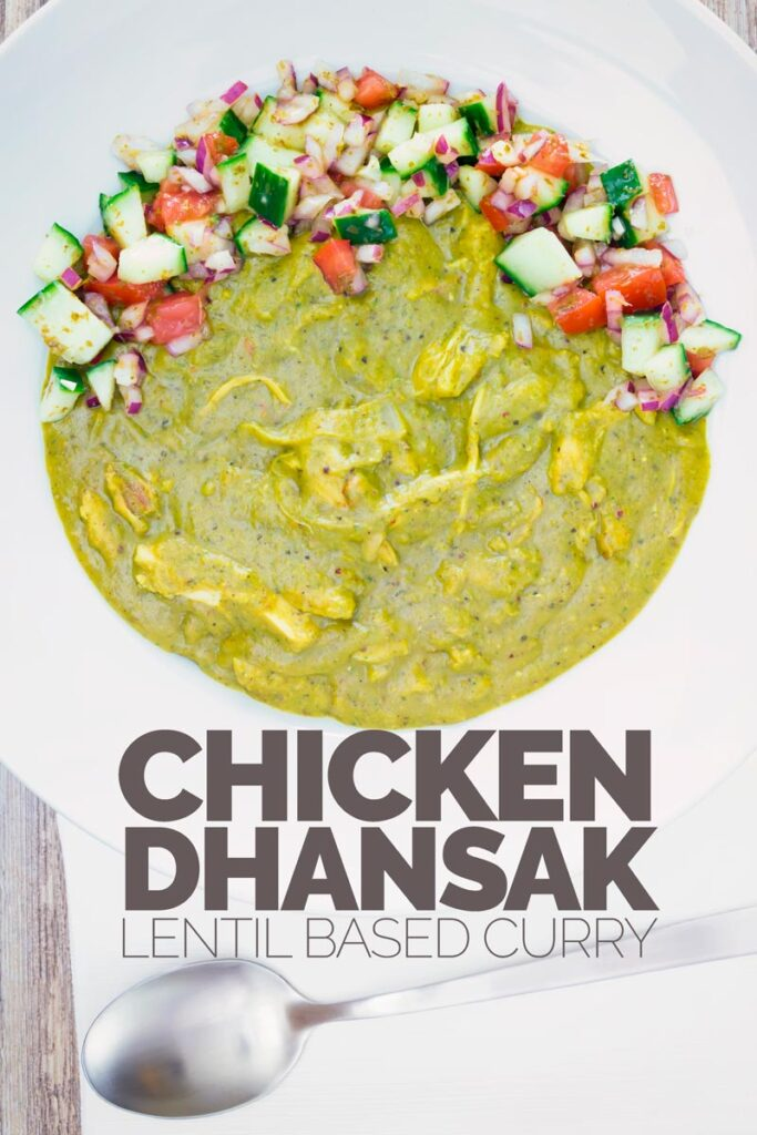 Portrait overhead image of a chicken dhansak curry served with a kachumber salad served in a white shallow bowl with text