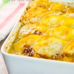 Fancy a chicken pie this week, then try this one with a difference, no pastry here, just yummy scalloped potato and a warming mustard sauce and you can mix and match your veggies. #chickenhotpot #potatotoppings